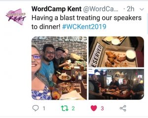 The WordCamp Kent Speakers Dinner was outstanding and a wonderful time of socializing, reconnecting with old friends, and meeting new friends.
