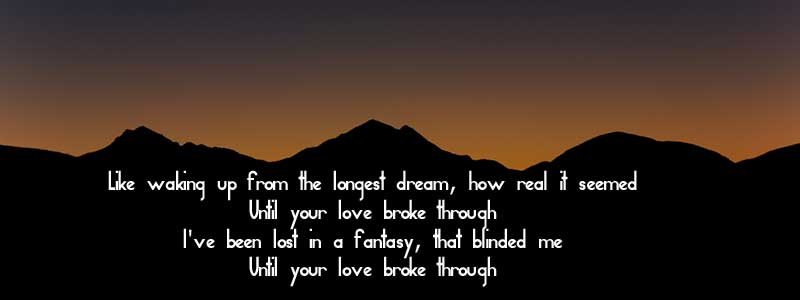 Photo of the sun rising over dark mountains, with the words from a Keith Green song printed on the mountains -