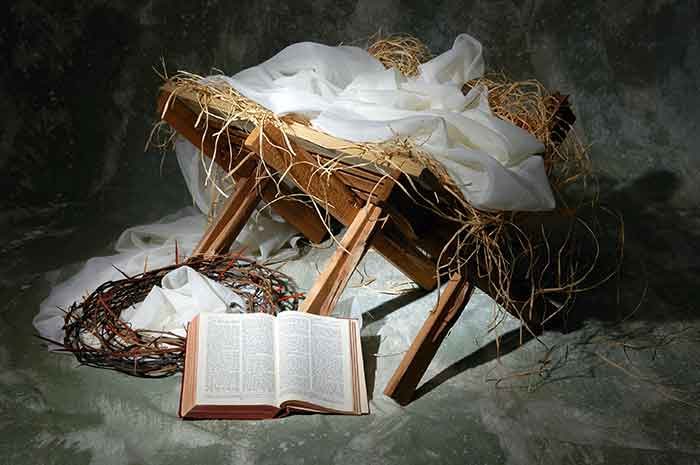 Photo of a mange, a crown of thorns, and a Bible.